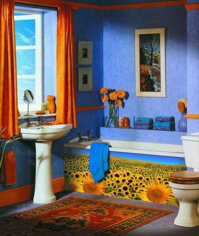 Интерьер ванны и туалета интерьер