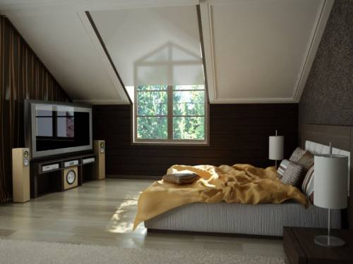 На мансарде дизайн спален на мансарде